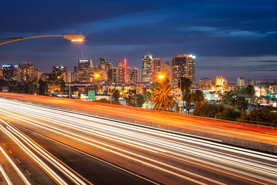 View of traffic near downtown San Diego