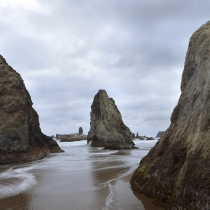 Three large sea stacks