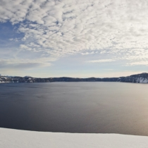 Panorama of Crater Lake at sunrise