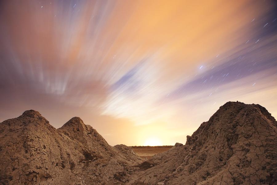 Mud Volcanoes at night along the Salton Sea