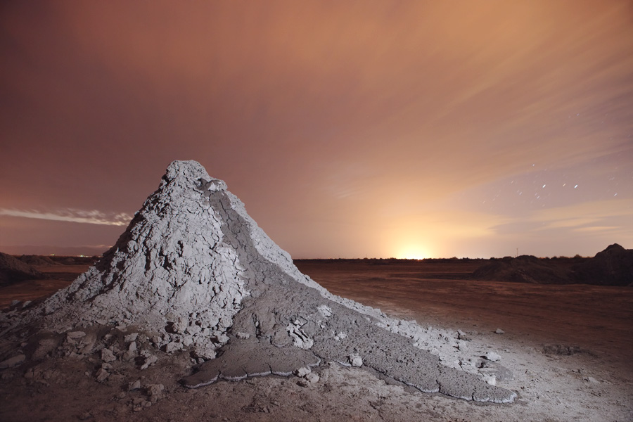 Salton Sea mud volcano at night