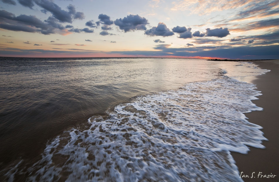 Sunset and Waves Along Cape May Point